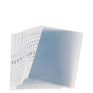 Staples Funda perforada, A4, polipropileno de 60 micras, 11 orificios, rugosa, transparente con bandas blancas