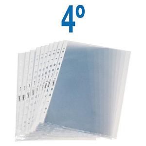 Staples Funda perforada, A5, polipropileno de 55 micras, 17 orificios, rugosa, transparente