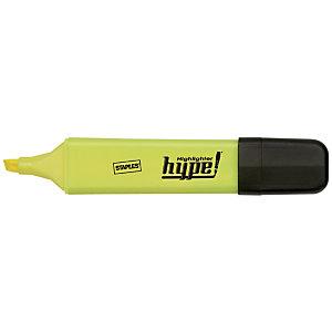 Staples Hype! Marcador fluorescente, punta biselada, 1 mm-5 mm, Amarillo