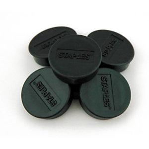 Staples Imanes redondos de 10mm negros con capacidad para sujetar 4 hojas, paquete de 10