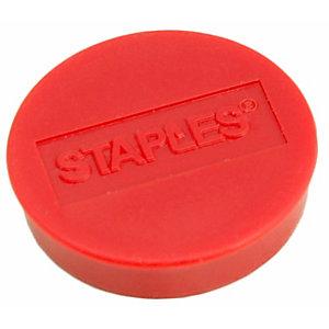 Staples Imanes redondos de 10mm rojos con capacidad para sujetar 4 hojas, paquete de 10