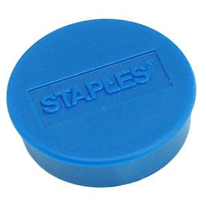 Staples Imanes redondos de 25 mm azules con capacidad de sujetar 8 hojas, paquete de 10