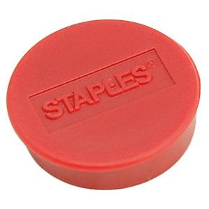 Staples Imanes redondos de 25 mm rojos con capacidad de sujetar 8 hojas, paquete de 10
