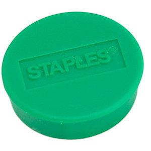 Staples Imanes redondos de 25 mm verdes con capacidad de sujetar 8 hojas, paquete de 10