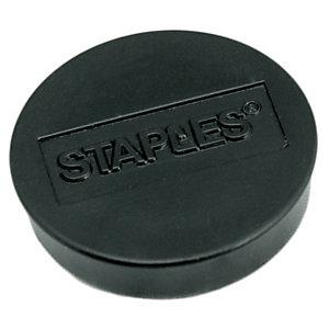 Staples Imanes redondos de 30 mm negros con capacidad de sujetar 12 hojas, paquete de 10