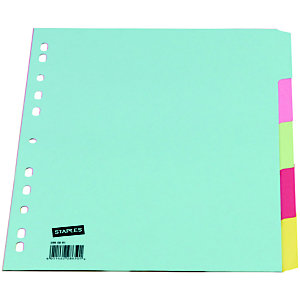Staples Intercalaires A4 carte standard 175 g/m² - 5 onglets couleur
