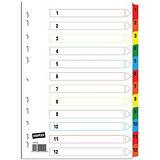 Staples Intercalaires numériques A4 en carte 12 divisions - Blanc touches colorées