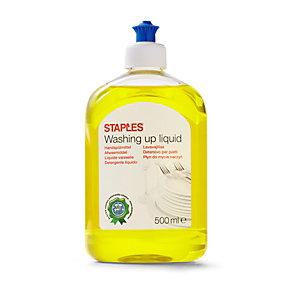 Staples Lavavajillas líquido, fragancia de cítricos, amarillo, 500 ml, tapón push-up