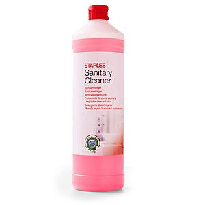 Staples Limpiador para baño y servicio, fragancia floral, concentrado rojo, 1L
