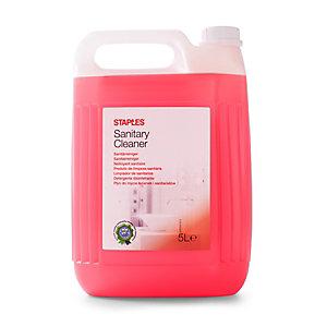 Staples Limpiador para baño y servicio, fragancia floral, concentrado rojo, 5 L