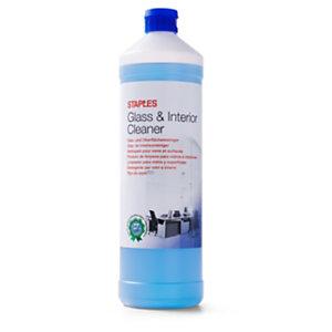 Staples Limpiador para cristal e interiores, fragancia limón fresco, líquido azul, 1 L