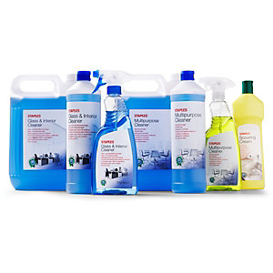 Staples Limpiador para cristal e interiores, fragancia limón fresco, líquido azul, 5 L