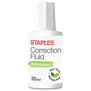Staples Líquido corrector a base de agua, 20 ml, blanco