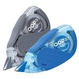 Staples OOPS!™ Corrector en cinta, 5 mm x 8 m, azul y gris, paquete de 2