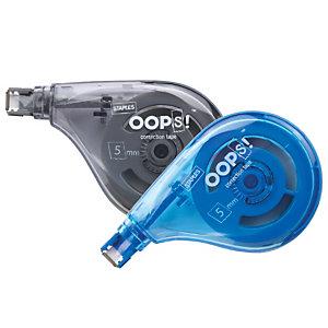 Staples OOPS!™ Corrector en cinta lateral, 5 mm x 10 m, azul y gris, paquete de 2