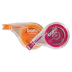 Staples OOPS!™ Corrector en cinta lateral, 5 mm x 10m, naranja y rojo arándano, paquete de 2