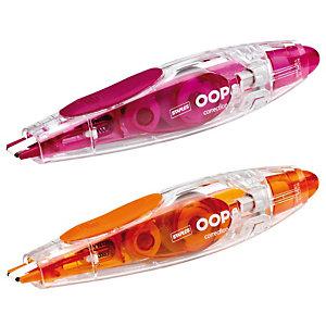 Staples OOPS!™ Corrector en cinta retráctil, 5 mm x 10m, naranja y rojo arándano, paquete de 2