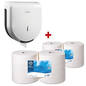 Staples Pack Jumbo: Dispensador + Rollo de papel higiénico, 2 capas, 1114 hojas