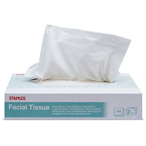 Staples Pañuelos faciales, 2 capas 100 hojas, 207mm, blanco