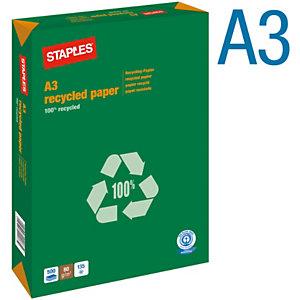 Staples Papel Multifunción para Faxes, Fotocopiadoras, Impresoras Láser e Impresoras de Inyección de Tinta 100% Reciclado Blanco A3 80 g/m²
