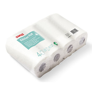 Staples Papier d'essuyage, double épaisseur, gaufré, 50 feuilles, 229 mm, Blanc