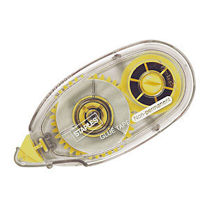 Staples Pegamento en aplicador, Cinta adhesiva, reposicionable, no permanente, amarillo