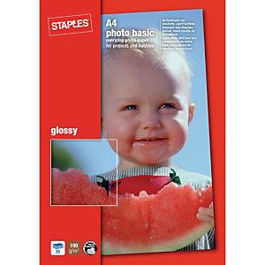 Staples Photo Basic Papel Fotográfico para Impresoras de Inyección de Tinta Blanco Brillante 100 x 150 mm 190 g/m²