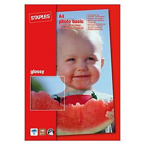 Staples Photo Basic Papel Fotográfico para Impresoras de Inyección de Tinta Blanco Brillante A4 190 g/m²