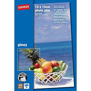Staples Photo Plus Papel Fotográfico para Impresoras de Inyección de Tinta Blanco Brillante 100 x 150 mm 240 g/m²