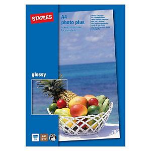 Staples Photo Plus Papel Fotográfico para Impresoras de Inyección de Tinta Blanco Brillante A4 240 g/m²