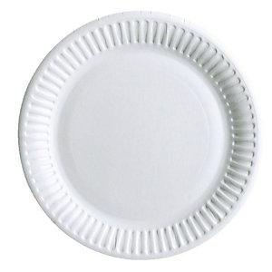Staples Piatto di carta monouso, Bianco, 23 cm (confezione 50 pezzi)