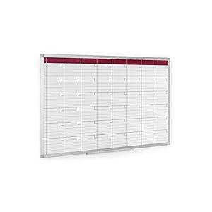 Staples Planning mensual de pared, Superficie magnética, Acero lacado, Aluminio, Cuadrícula, 90 x 60 cm