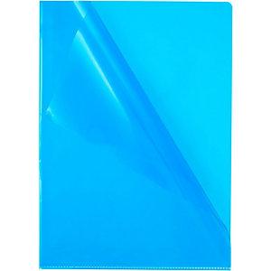 Staples Pochette à ouverture enL de qualité supérieure, A4, transparente et grainée, PVC, Bleu, 302x217 mm, paquet de 10