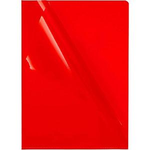 Staples Pochette à ouverture enL de qualité supérieure, A4, transparente et grainée, PVC, Rouge, 302x217 mm, paquet de 10