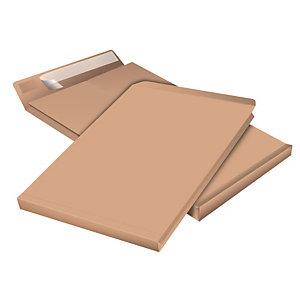 Staples Pochette à soufflet 5 cm en kraft blond armé format 24 - 330 x 260 mm 130g sans fenêtre - bande autoadhésive