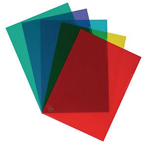 Staples Pochettes coin A4 PVC 10/100 - couleurs assorties - Boîte de 10