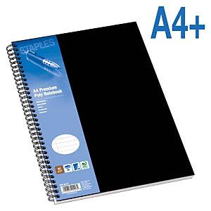 Staples Poly Cuaderno, A4+, rayado, 80 hojas, cubierta polipropileno, negro
