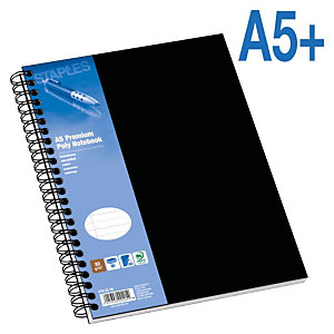 Staples Poly Cuaderno, A5+, rayado, 80 hojas, cubierta polipropileno, negro