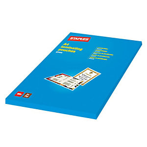 Staples Pouches per plastificatrice, A4, 2 x 125 micron (confezione 100 pezzi)