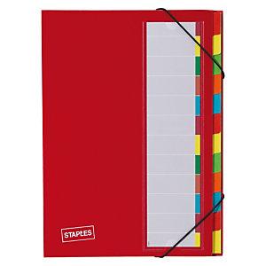 Staples Premium Clasificador con gomas, A4, 12 compartimentos, rojo