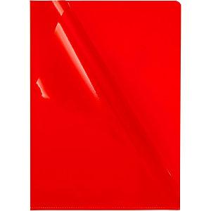 Staples Premium, Dossier uñero, A4, PVC rugoso, 145 micras, rojo transparente