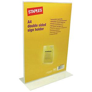 Staples Présentoir, plastique, A4, 297 x 210 x 42 mm, clair