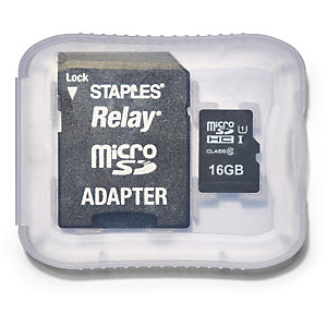 Staples Relay Tarjeta microSDHC de 16 GB con adaptador SD
