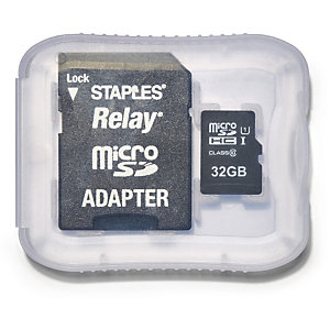 Staples Relay Tarjeta microSDHC de 32 GB con adaptador SD