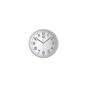 Staples Reloj analógico de pared gris plata