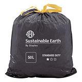 Staples Sac poubelle à poignées coulissantes 50 L noir pour déchets courants en plastique recyclé 25 microns ø 68 x H.75 cm (4 rouleaux de 25 sacs)