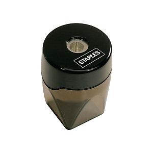 Staples Sacapuntas con depósito, orificio simple, plástico, negro