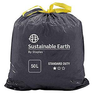 Staples Sacchi per nettezza urbana con cordoncino, Materiale riciclato, Per rifiuti normali, 50 l, 25 micron, 680 x 750 mm, Nero, Rotolo da 25 sacchi (confezione 25 pezzi)