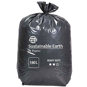 Staples Sacchi per nettezza urbana, Materiale riciclato, Per rifiuti pesanti, 160 l, 65 micron, 950 x 1300 mm, Nero, Rotolo da 10 sacchi (confezione 10 pezzi)