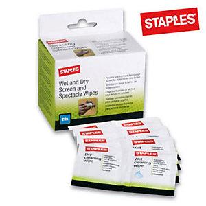 Staples Salviette per schermi e occhiali Wet and Dry (confezione 20 pezzi)